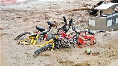 """兰州市民反映:近水广场附近多辆共享单车身陷淤泥 呼吁""""解救"""""""
