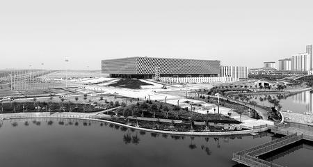 新建的甘肃省体育馆各项扫尾工程正在有序进行(图)
