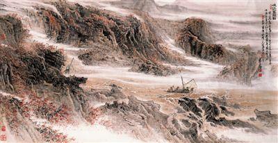 中国画欣赏:峡江深秋图