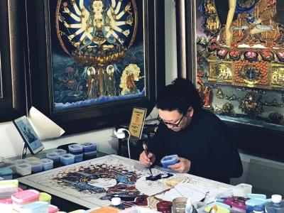 兰州艺人用2500多米金丝掐出《八十七神仙景泰蓝珐琅壁画》