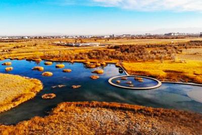 """俯瞰龙虎和沙漠湿地 冬日""""水光潋滟晴方好"""""""