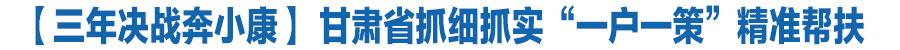 """【三年决战奔小康】 一户一本账 各家不一样 甘肃省抓细抓实""""一户一策""""精准帮扶"""