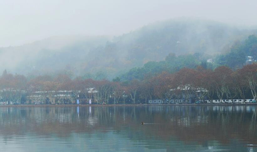 杭州初雪过后 雨雾收尾