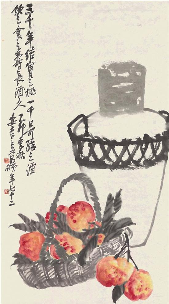 吴昌硕 桃宴酒坛图轴