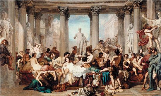 托马斯·库退尔 颓废的罗马人 472×772cm 1847年 法国奥赛美术馆