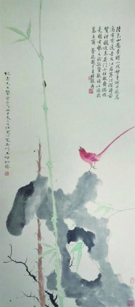 红雀新篁图(国画) 100×44厘米 1936年 江寒汀 中央美术学院美术馆藏