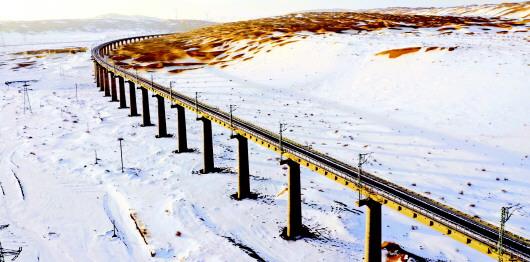 雪后的敦格铁路沙山沟特大桥(图)