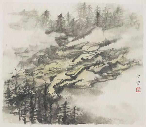 丁杰水墨画作品《梯田系列之一》