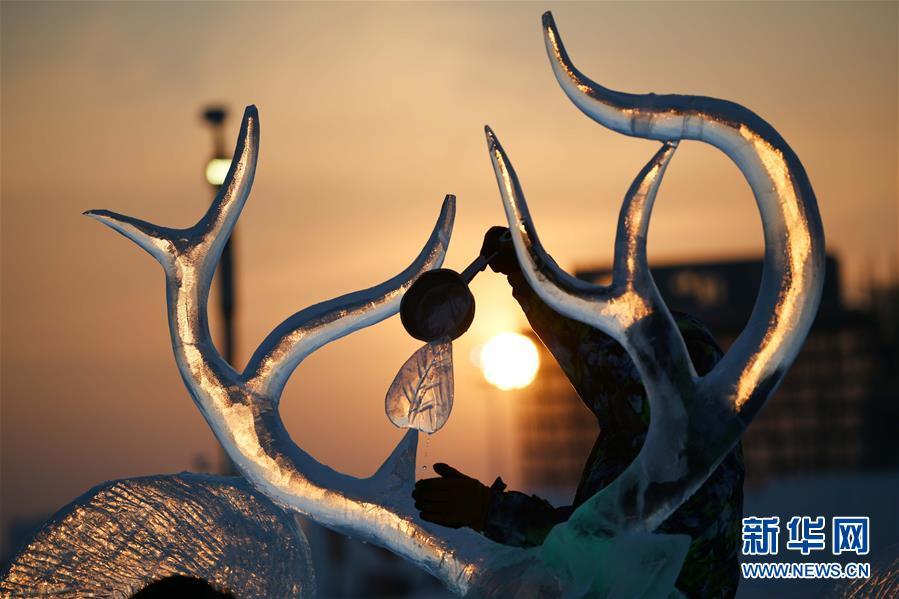 (社会)(6)哈尔滨国际冰雕比赛:初露芳容