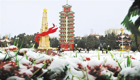 白银会宁县迎来今春首场降雪(图)
