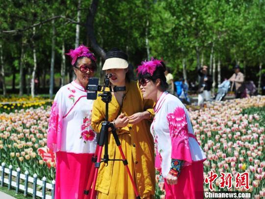 百万余株郁金香竞相盛开,吸引大批市民前来赏花。 刘栋 摄
