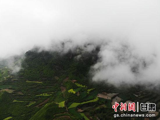 图为贵清山景区云雾缭绕,美不胜收。
