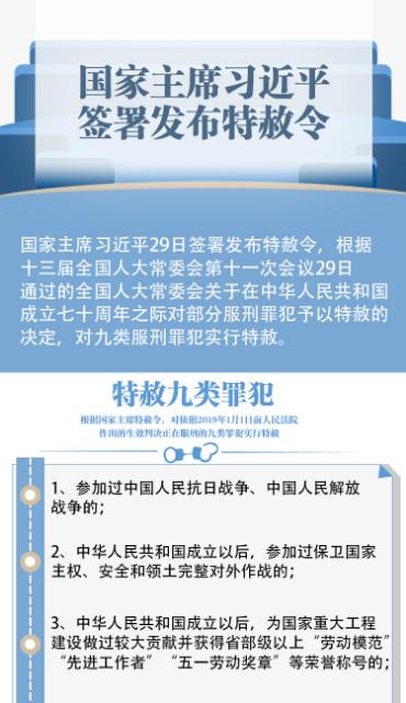 一图读懂丨国家主席习近平签署发布特赦令