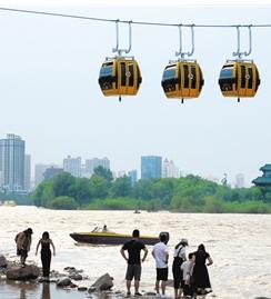 兰州:水位渐退,水上巴士今复航黄河边上又热闹起来了