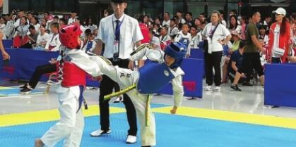 葡京手机版青少年儿童体育技能大赛跆拳道比赛在新区开赛