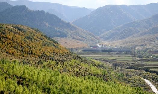 甘肃渭源:秋色渐染元古堆