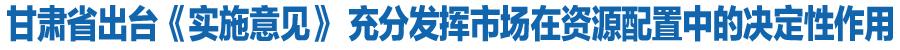 甘肃省出台《实施意见》 充分发挥市场在资源配置中的决定性作用