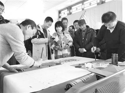 甘肃省榜书研究会送文化下乡来到八步沙