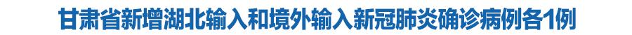 甘肃省新增湖北输入和境外输入新冠肺炎确诊病例各1例