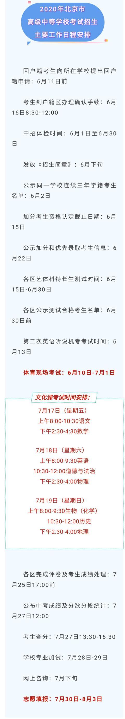 北京今年中考日程确定!总分580分,考后知分填志愿