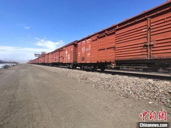 图为满载哈萨克斯坦大麦的班列。甘肃(兰州)国际陆港供图
