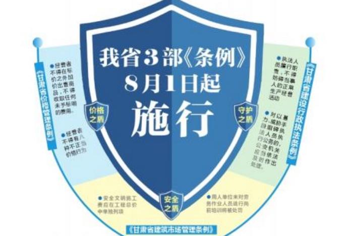 甘肃省3部《条例》8月1日起施行