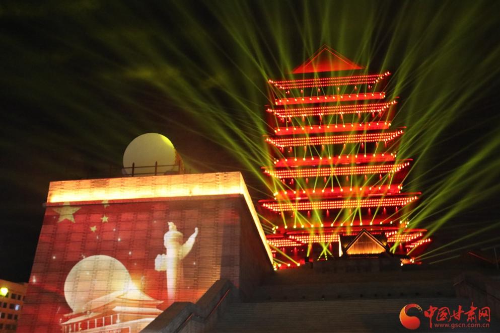 美!兰州黄河楼与3D Mapping灯光秀璀璨共舞黄河之滨(组图)