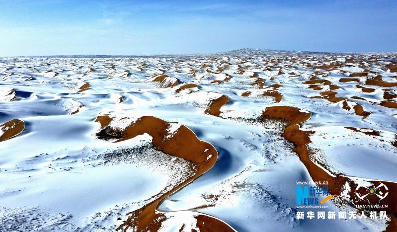"""【""""飞阅""""中国】甘肃民勤:大漠雪霁美如画"""