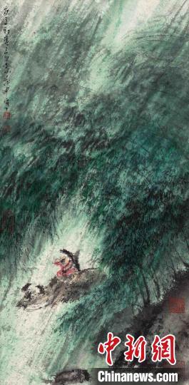 叶茂中《风雨归牧》,2020 年作,45×22cm。永乐拍卖供图