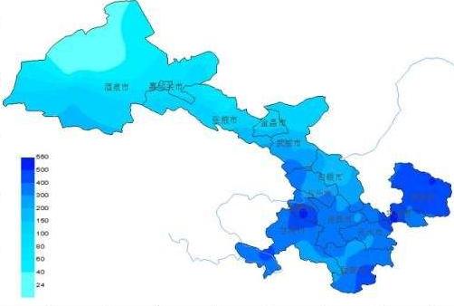短期内甘肃省各地降水少
