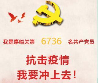 我是嘉峪关第#访问次数#名共产党员 抗击疫情 我要冲上去!