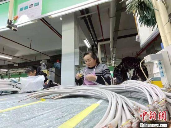 图为来自甘肃省定西市岷县的务工人员王红霞在生产线工作。(资料图) 张婧 摄