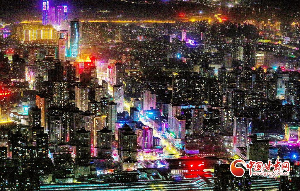 甘肃兰州:华灯映佳节 绚丽灯光秀