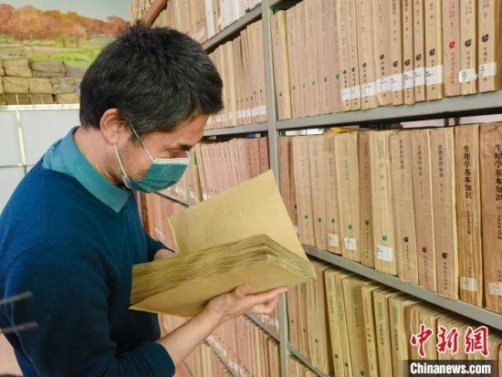 盲人在书架上寻找自己阅读的书籍。 高康迪 摄
