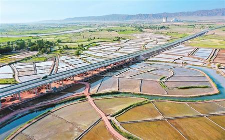 甘蒙高速公路与甘州区乌江镇元丰村的稻田和蔬菜基地构成一幅美丽的画卷