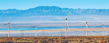 当金山下的高原风电场在夏日里非常壮观