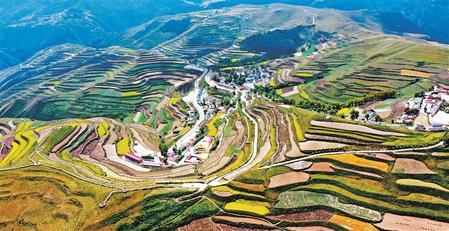 秋收时节的卓尼县杓哇土族乡景色壮美